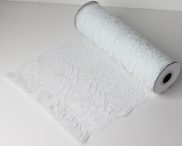 "White Chantilly Lace Runner - 14"" x 10Y"
