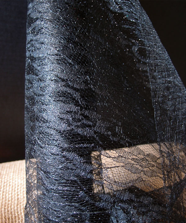 "Black Glitter Lace Draping - 19"" x 5Y"
