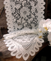 "Ivory Floral Lace Table Runner - 13"" x 76"""