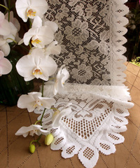 "Ivory Floral Lace Table Runner - 13"" x 96"""