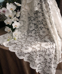 "Ivory Floral Lace Square Table Overlay - 54"" x 54"""