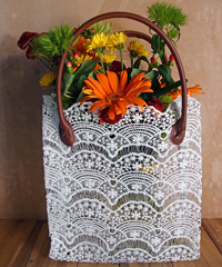 Stiffened Lace Tote Bag  Brown Handles
