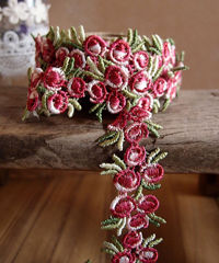 "Red Rose Floral Embroidered Lace Trim - 3/4"" x 5Y"