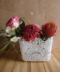 "Stiffened Lace Vase Holder 6"" Square - 6""W x 6""D x 6.5""H"