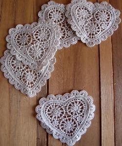 Crochet Lace Heart Doily