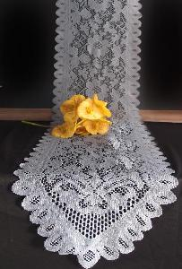 "Floral Lace Runner - Pewter Gray - 18"" x 96"""