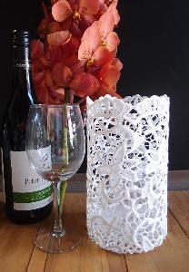 "Stiffened Lace Vase & Wine Bottle Holder 8"" -  4 ¼ ""W x 8 ""H"