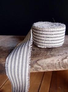 Pewter Gray Striped Linen Ribbon - Striped linen ribbon