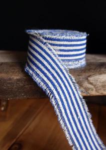 Blue Striped Linen Ribbon - Striped linen ribbon