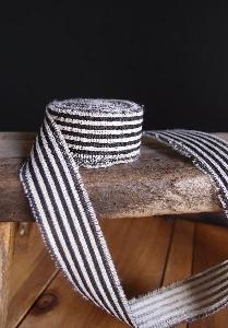 Black Striped Linen Ribbon - Striped Linen Ribbon