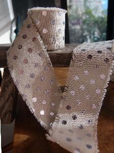 Linen Ribbon with Silver Metallic Dots - Natural linen ribbon with silver metallic dots