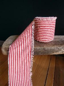 Red Striped Linen Ribbon - Striped linen ribbon