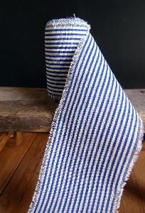 Ocean Blue Striped Linen Ribbon - Striped Linen Ribbon