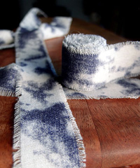 Acid Wash Denim Blue Tie-dyed Linen Ribbon