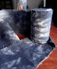 Blue Tie-dyed Linen Ribbon