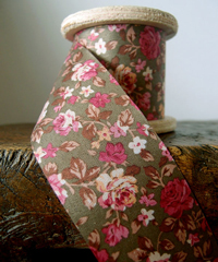 Vintage Floral Print on Brown Ribbon
