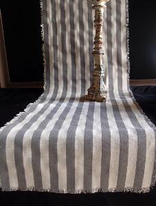 "Linen Table Runner Solid Pewter Gray Stripes Fringed Edge - Linen Runner with Solid Pewter Gray Stripes 14-1/2"" x 108"""