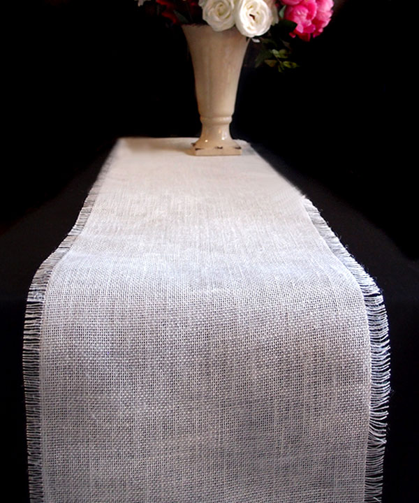 White Burlap Jute Table Runner