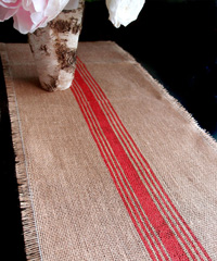 Red Striped Jute Table Runner with Fringed Edge