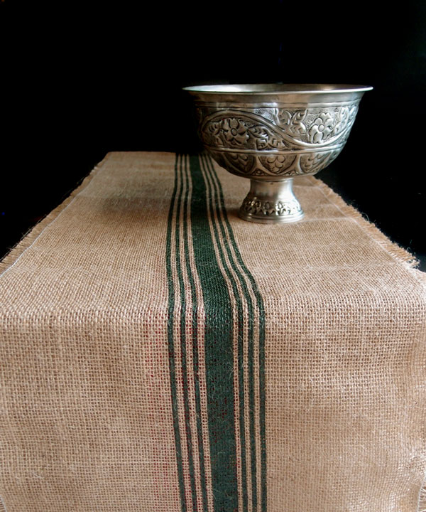 Dark Green Striped Jute Table Runner with Fringed Edge