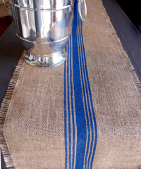 Blue Striped Jute Table Runner with Fringed Edge
