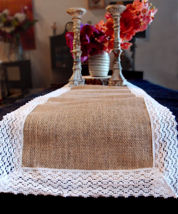 "Jute Runner with Lace Edge - 12 1/2"" x 108"""