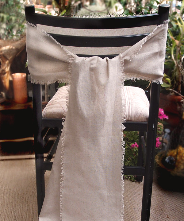 Linen Chair Sash with Fringed Edge