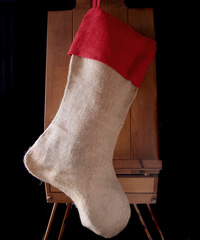 Burlap Christmas Stocking  Red Cuff  24 inch