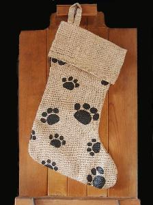 jute christmas stocking with paw print 17 inch 8w x 17h - Burlap Christmas Decorations Wholesale