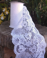 "White Lace Ribbon - 6"" x 10Y"