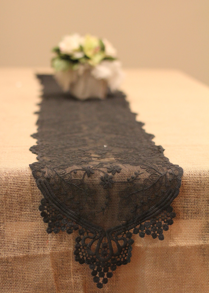 "Black Lace Table Runner - 12"" x 74"""
