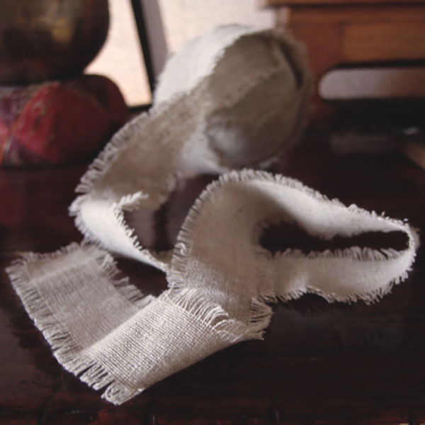 Linen Ribbon with Fringed Edge