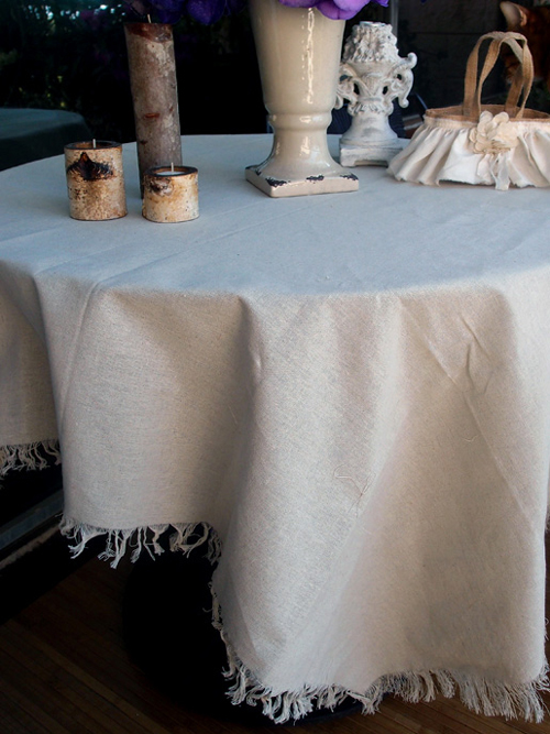 "Linen Table Cover Sheet with Fringed Edge - 54"" x 54"""