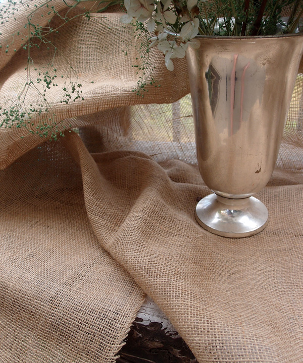 Jute Table Cover with Fringed Edge