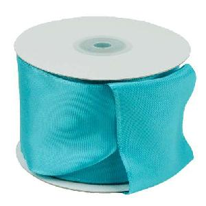 Turquoise Taffeta Ribbon with Wired Edge