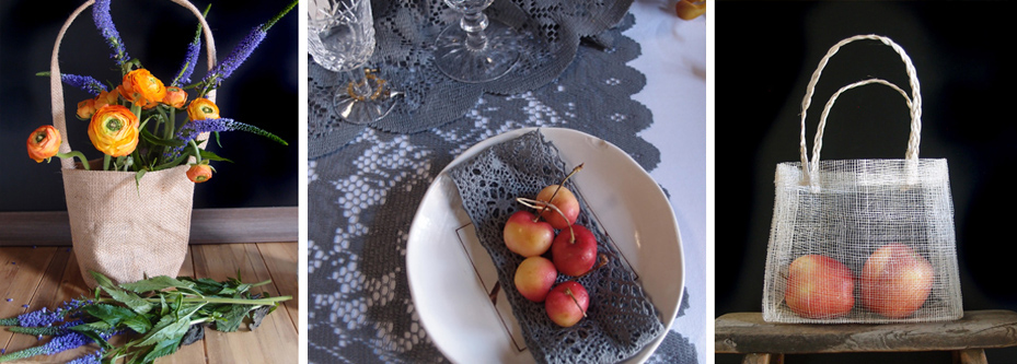 fall pewter gray lace table coverings, table runners and gift baskets