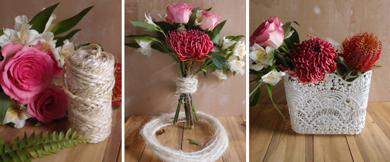 spring crochet lace baskets for wedding and elegant event decor, floral scalloped edge ribbon and sheer floral ribbon