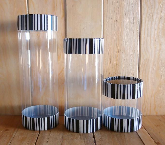 "Clear Cylinder with Striped Top - 2.75"" x 6"""
