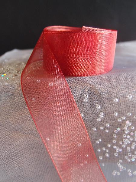Crimson Sheer Ribbon with Monofilament Edge