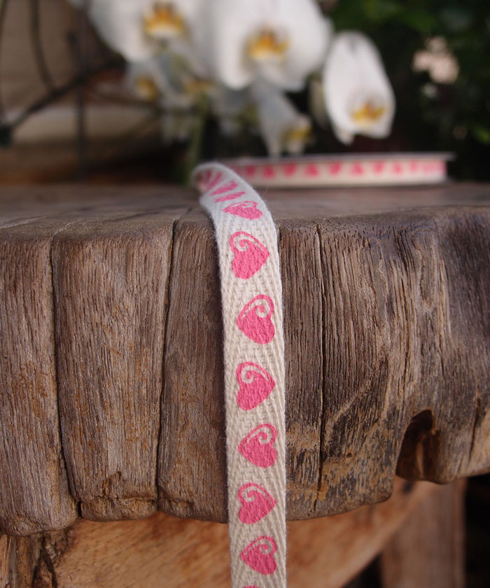 Hearts Cotton Ribbon - 3 rolls minimum
