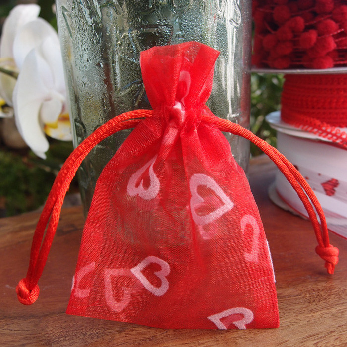 Drawstring Favor Bag with Flocked Hearts