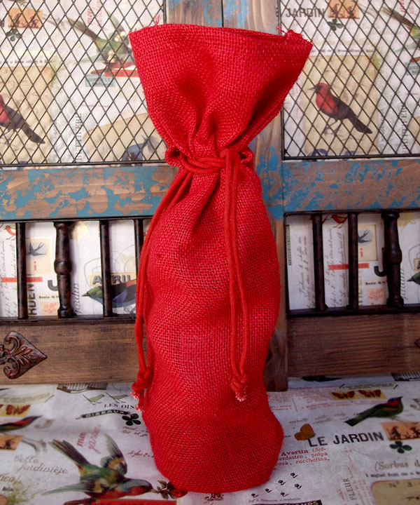 "Red Jute Wine Bag - 6"" x 15"" x 3 1/2"""