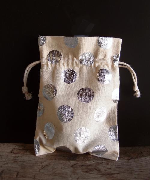 Cotton Bag with Big Silver Metallic Dots 5x7
