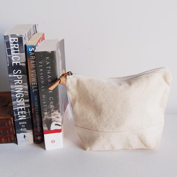 "Natural Washed Canvas Zipper Pouch 8"" - 8""W x 6.3""x 2.4"" D"