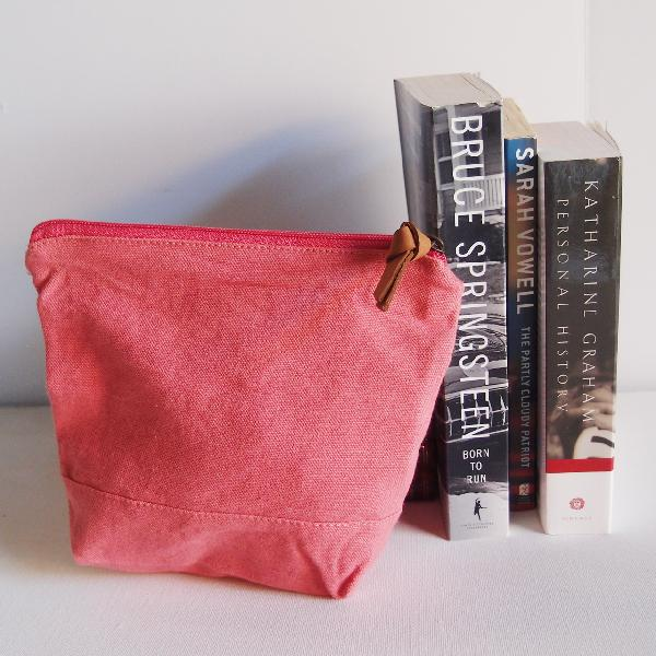 "Coral Red Washed Canvas Zipper Pouch 8"" - 8""W x 6.3""x 2.4"" D"