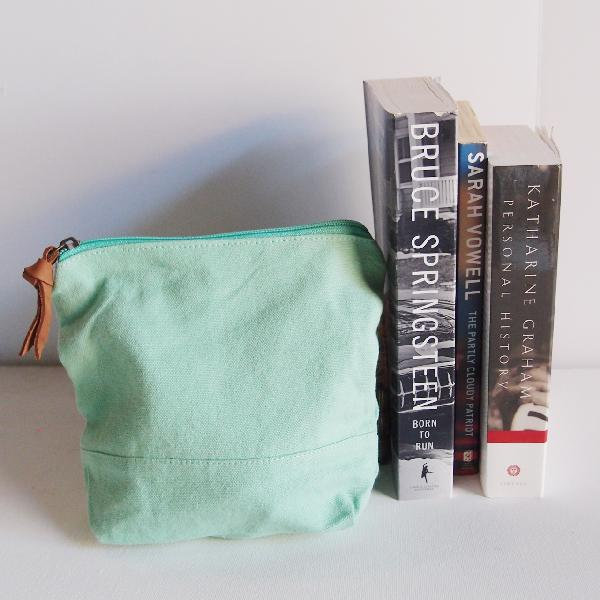 "Mint Green Washed Canvas Zipper Pouch 8"" - 8""W x 6.3""x 2.4"" D"