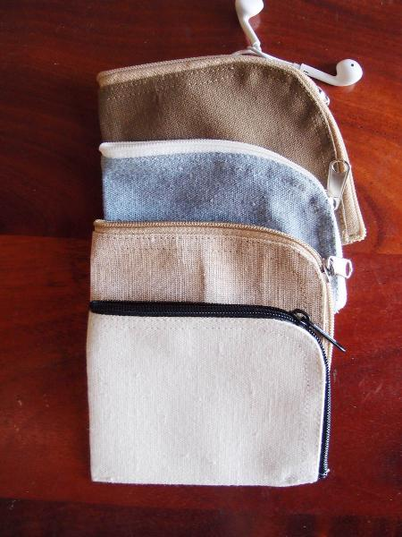 "Recycled Canvas Curved Zippered Pouch  - 5.5""W x 3.75"""