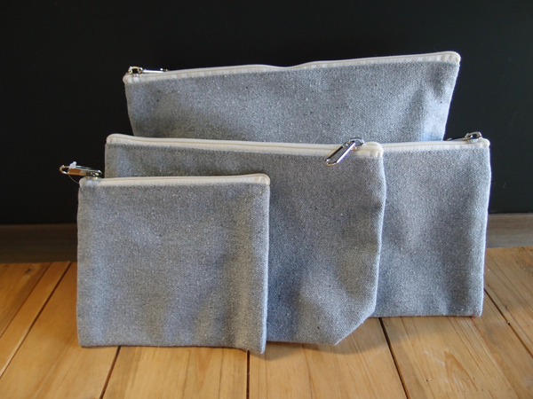 "Grey  Recycled Canvas  Zipper Pouch  10"" - 10""W x 7"" x 3""D"