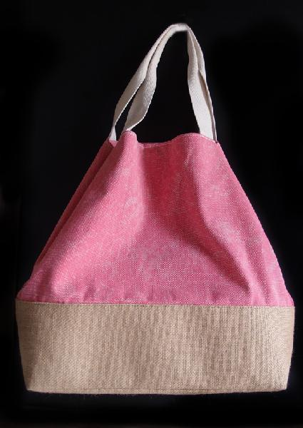 "Pink Washed Canvas Tote with Burlap - 14""W x 16""H x 5 ½""D"