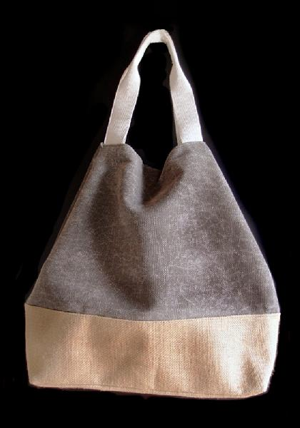 "Grey Washed Canvas Tote with Burlap - 14""W x 16""H x 5 ½""D"